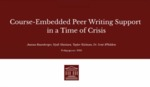 Student Support in a Time of Crisis: How a Small Liberal Arts College Writing Center Developed A Course-Embedded Consulting Model for First Year Students by Scott Whiddon, Nyah Mattison, Joanna Rosenberger, and Taylor Kielman