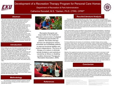 Development of a Recreation Therapy Program for Personal Care Homes