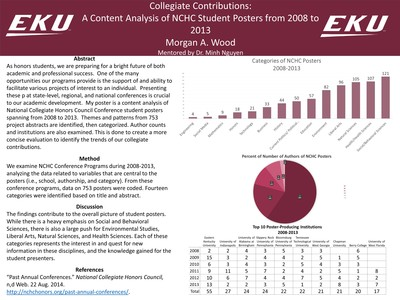 Collegiate Contributions: A Content Analysis of NCHC Student Posters from 2008 to 2013""