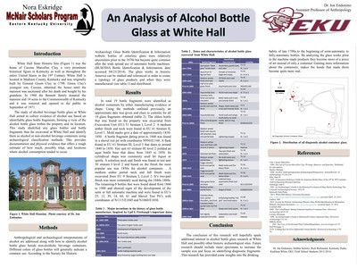 An Analysis of Alcohol Bottle Glass at White Hall
