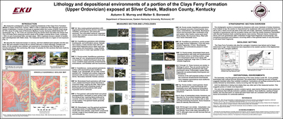 Lithology and depositional environments of a portion of the Clays Ferry Formation (Middle and Upper Ordovician) exposed at Silver Creek, Madison County, Kentucky