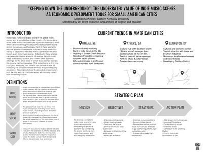"""Keeping Down the Underground:"" The Underrated Value of Indie Music Scenes as Economic Development Tools for Small American Cities"